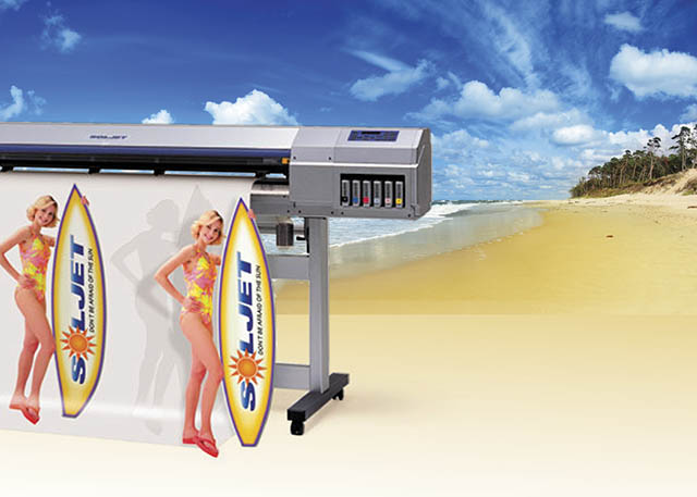 2001 The SOLJET becomes the world's first solvent printer/cutter available for under $25,000 and features Sol ink with enhanced outdoor durability.