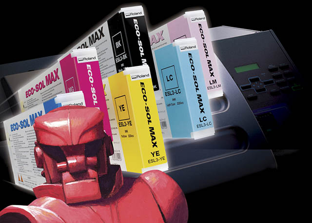 2005 Roland introduces its advanced eco-solvent ink, ECO-SOL MAX, with mascot Max the robot.