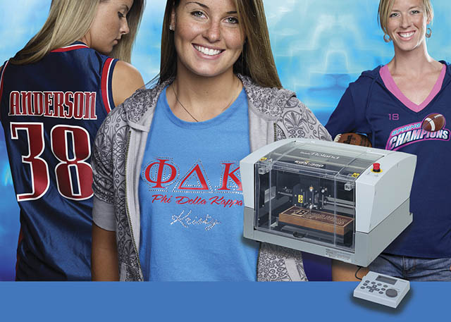 2007 Roland introduces its EGX-350 professional model engraver, as well as R-Wear Solutions for custom apparel decoration including rhinestone motifs.